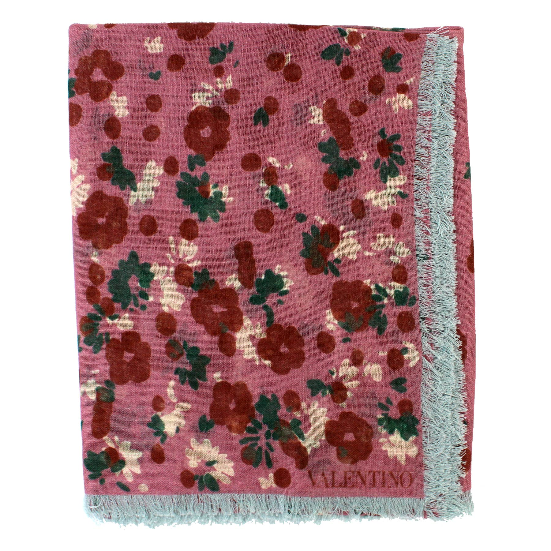 Valentino Scarf Pink Gray Floral