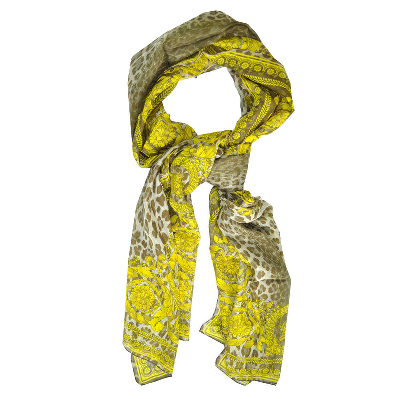 Versace Scarf Gray Taupe Gold Panther Baroque