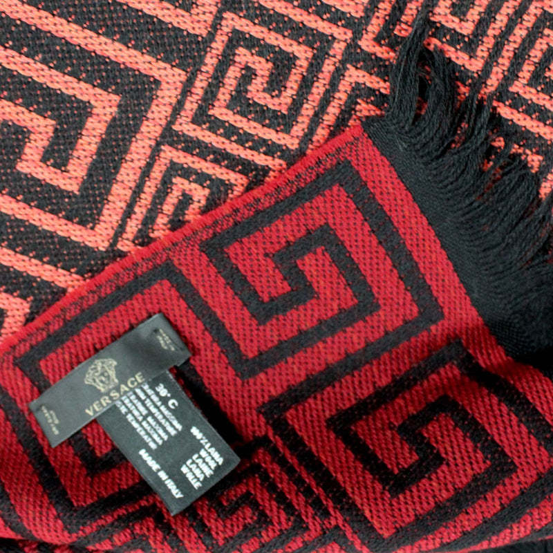 Versace Scarf Black Red Greek Knit  Medusa