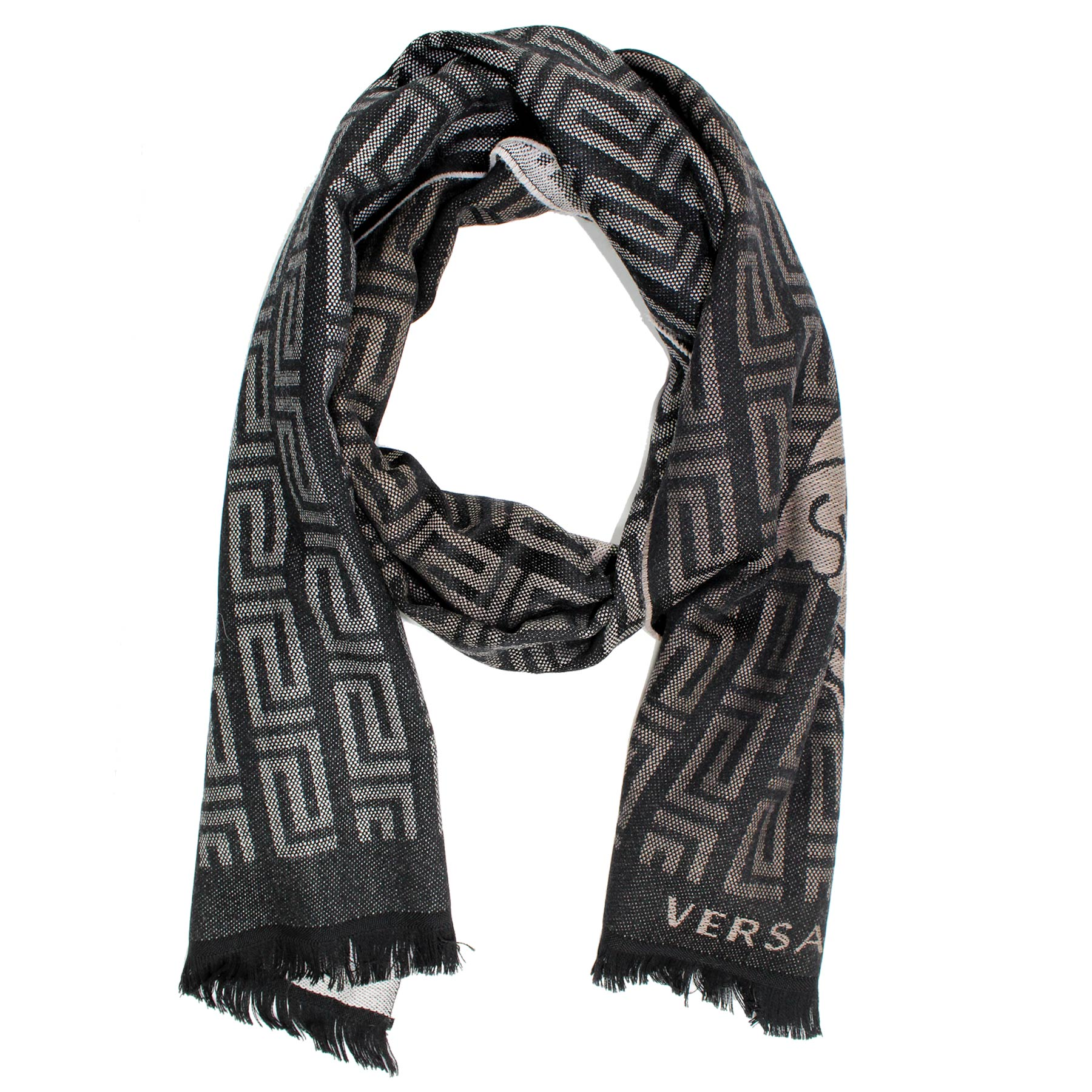1cab5d0e2c Versace Scarf Black Gray Greek Knit & Medusa - Wool Shawl Made In Italy SALE