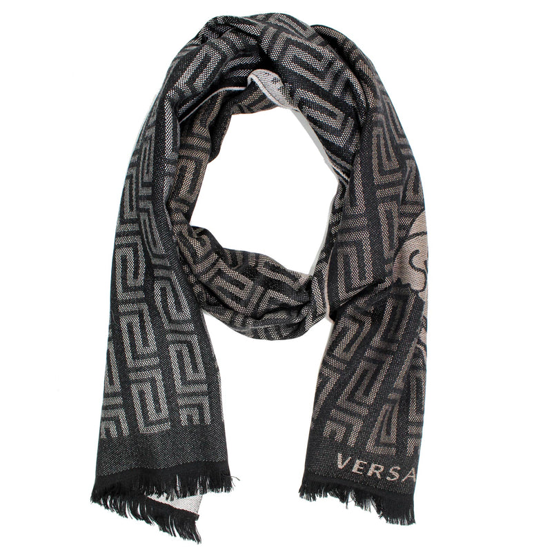 Versace Scarf Black Gray Greek Knit