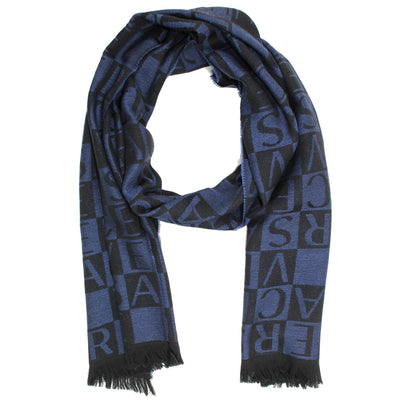 Versace Wool Scarf Logo Black Midnight Blue