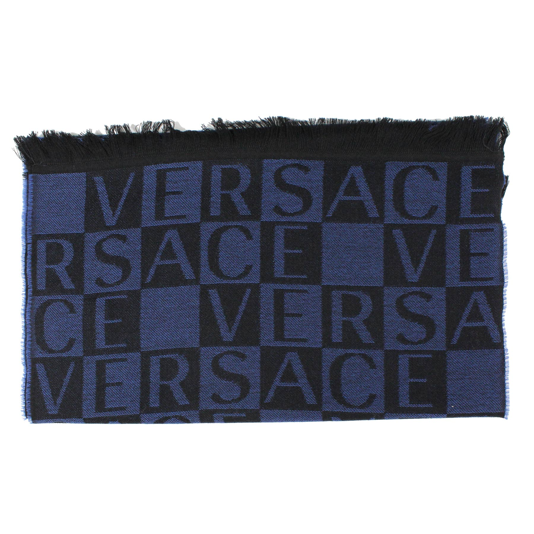Versace Wool Scarf Black Midnight Blue