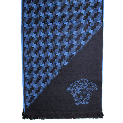 Versace Scarf Black Midnight Blue Houndstooth & Medusa - Wool Shawl SALE