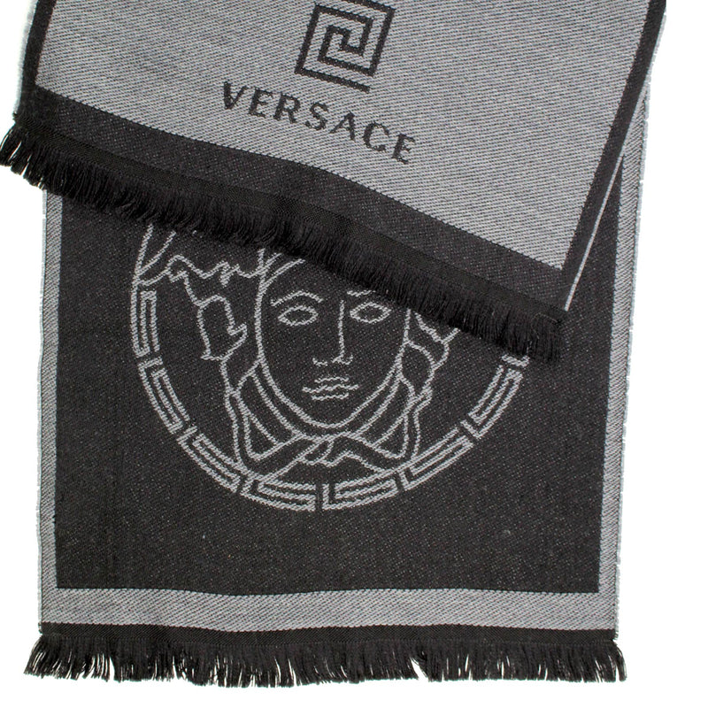 Versace Scarf Black Gray Medusa & Greek Knit Logo Design Wool Shawl SALE