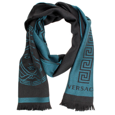 Versace Scarf Black Teal Medusa & Greek Knit Logo Design Wool Shawl SALE