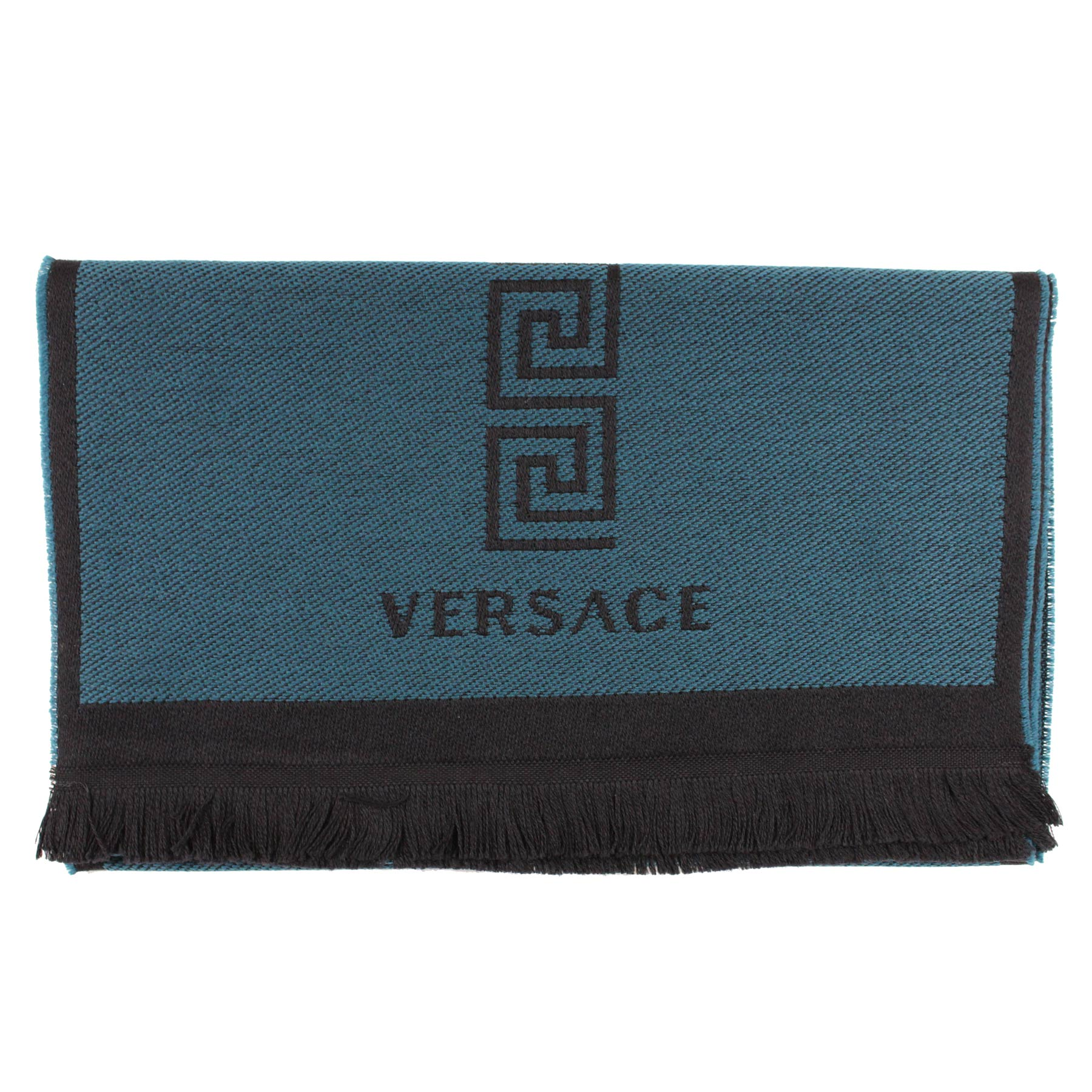 Versace Scarf Black Teal Medusa & Greek Knit