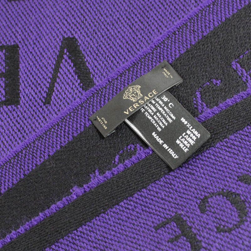 Versace Scarf Black Purple Logo Design Wool Shawl New