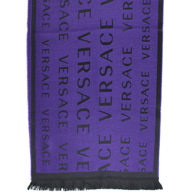 Versace Wool Scarf Black Purple Logo Design - SALE