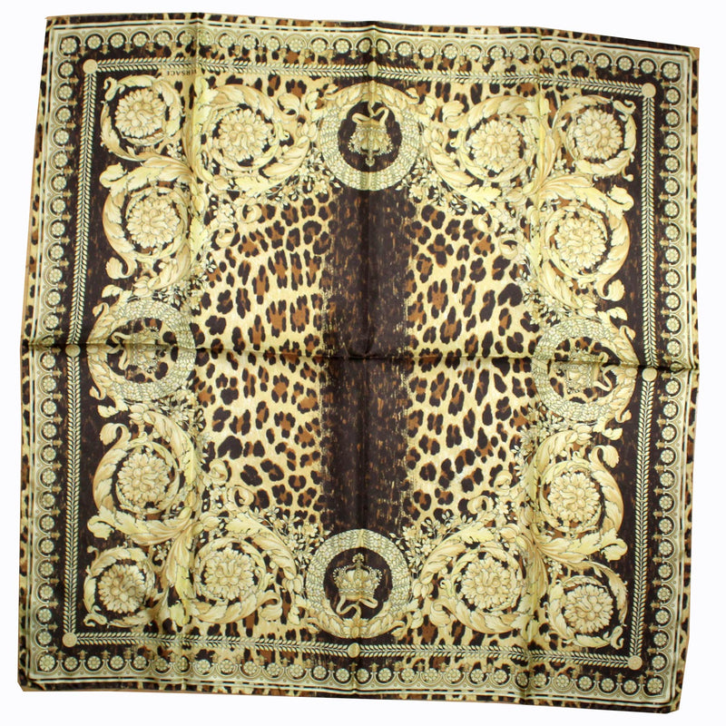 Versace Silk Scarf Black Brown Gold Baroque Crown