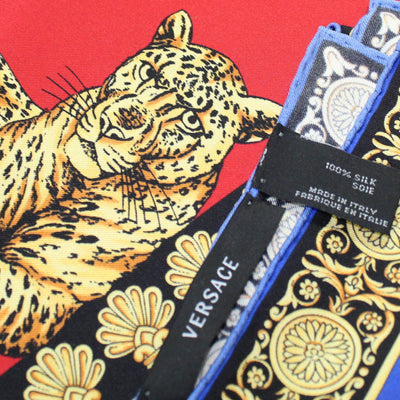 Versace Scarf Baroque & Panther Design - Large Twill Silk Square Scarf