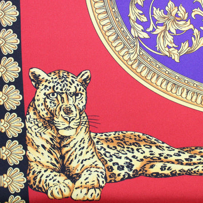 Versace Scarf Ornamental & Panther Silk Square Scarf