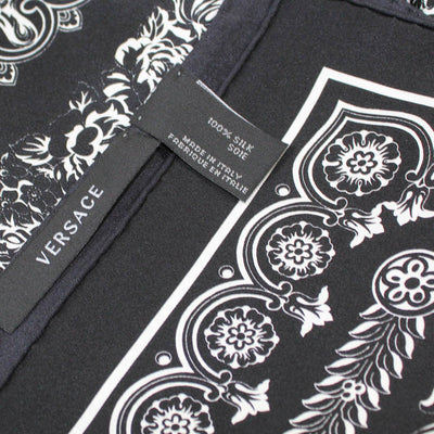Versace Scarf Black White Baroque - Large Twill Silk Square Scarf