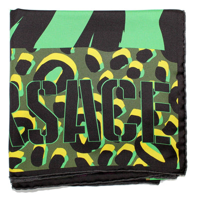 Versace Scarf Green Panther Large Twill Silk Square Scarf