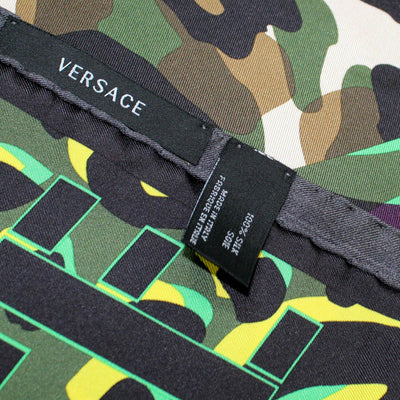 Versace Scarf Green Panther & Camo Design - Large Twill Silk Square Scarf