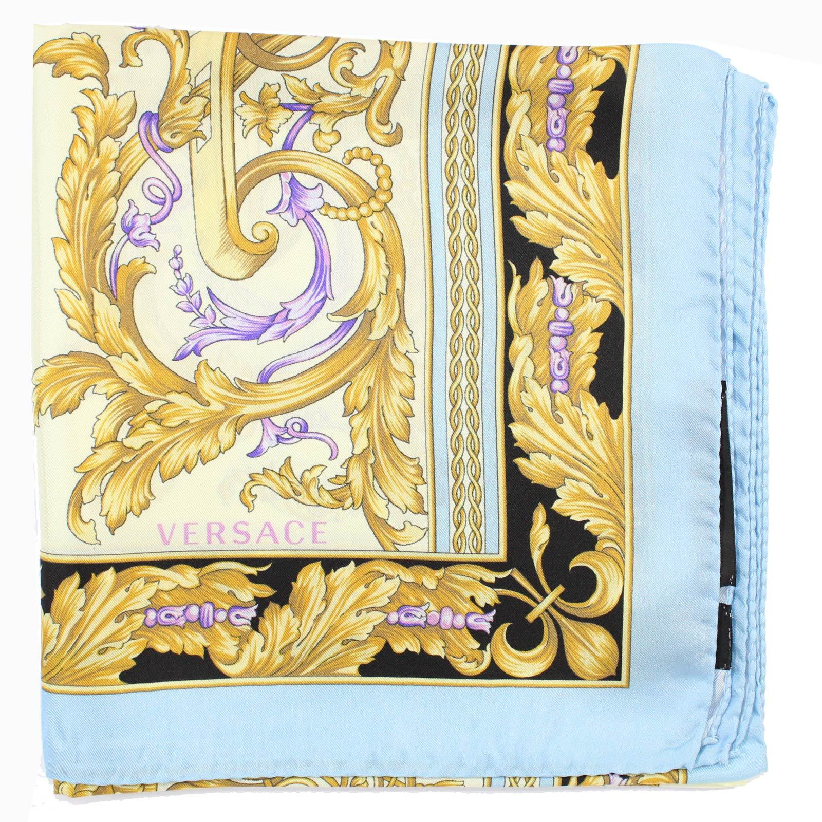 Versace Scarf Sky Blue Gold Aqua Baroque New