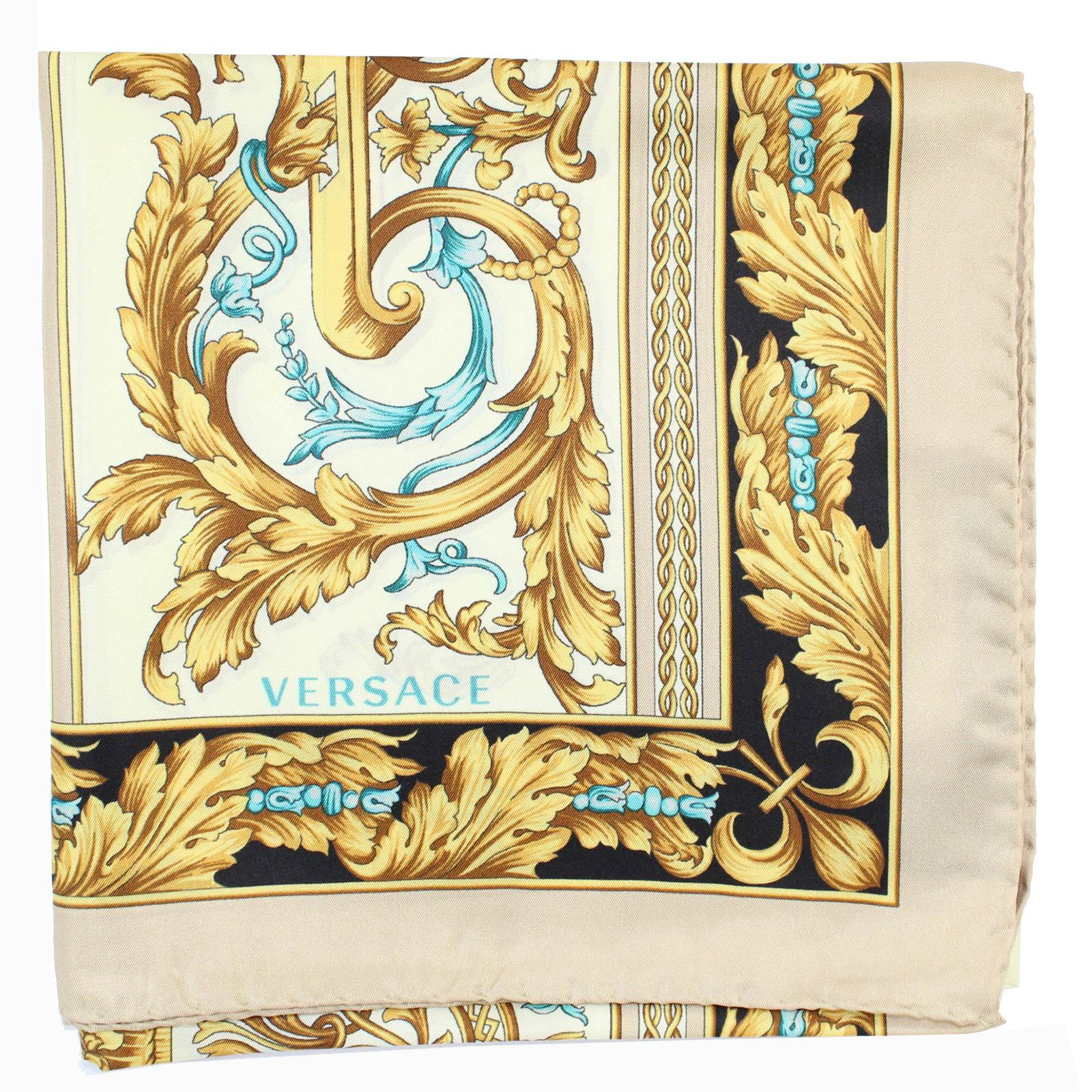 Versace Scarf Cream Gold Aqua Baroque