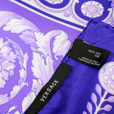 Versace Scarf Purple Baroque Design - Large Twill Silk Square Scarf