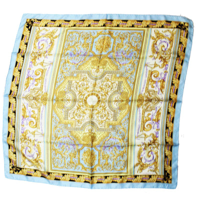 Versace Scarf Sky Blue Gold Baroque - Large Twill Silk Square Scarf