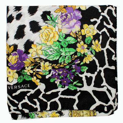 Versace Scarf Black White Gold Purple Floral