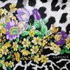 Versace Scarf Black White Gold Purple Floral Panther Print - Large Twill Silk Square Scarf