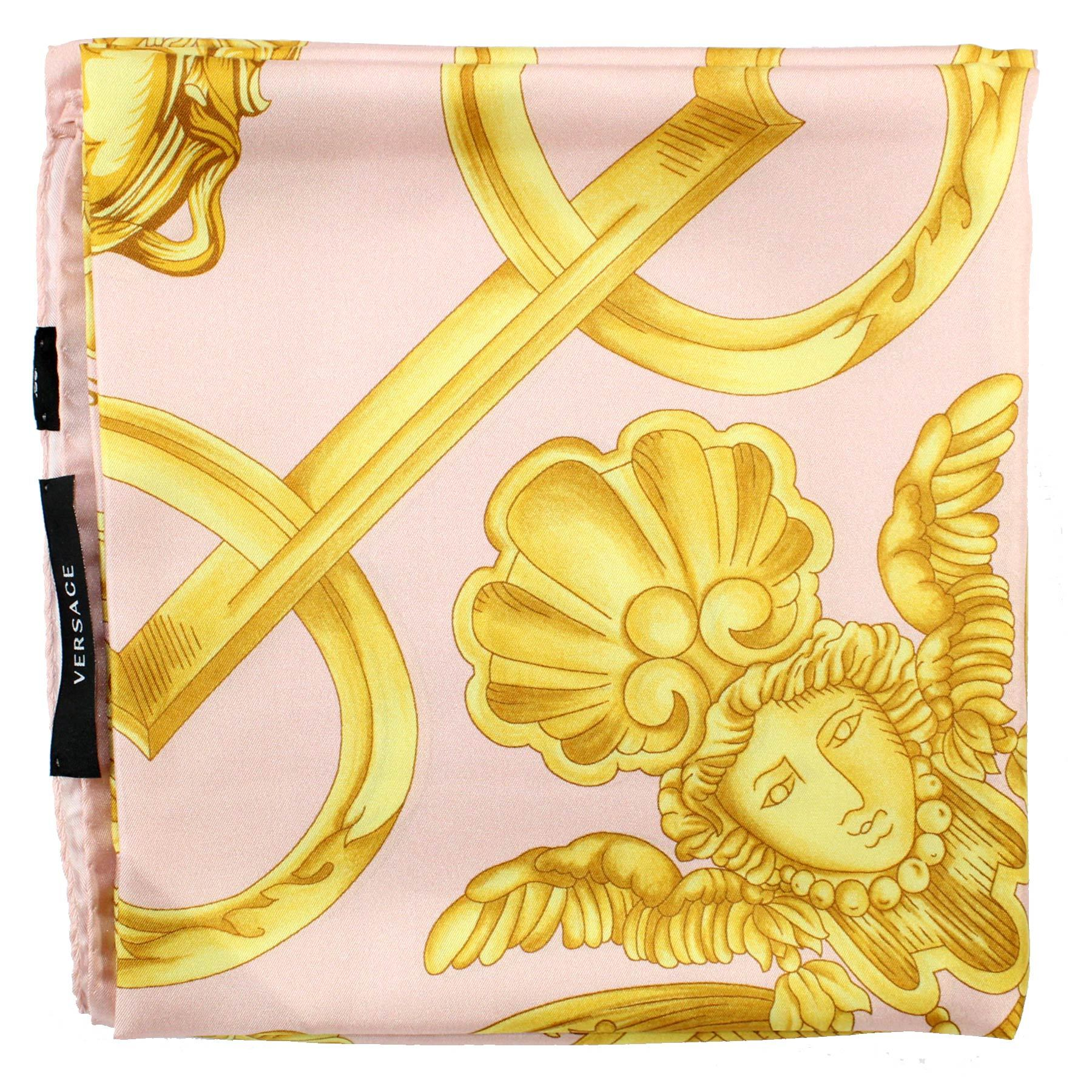 Versace Scarf Pink Gold Baroque Twill Silk Square Scarf
