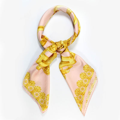 Versace Scarf Pink Gold Baroque - Large Twill Silk Square Scarf