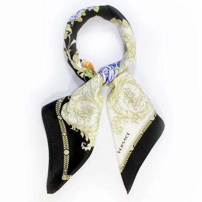 Versace Scarf Black Purple Floral Baroque
