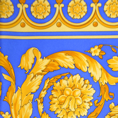 Versace Scarf Royal Blue Gold Baroque FloralTwill Silk