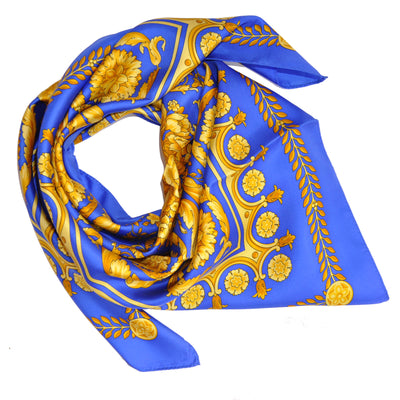 Versace Scarf Royal Blue Gold Baroque Floral - Large Twill Silk Square Scarf SALE