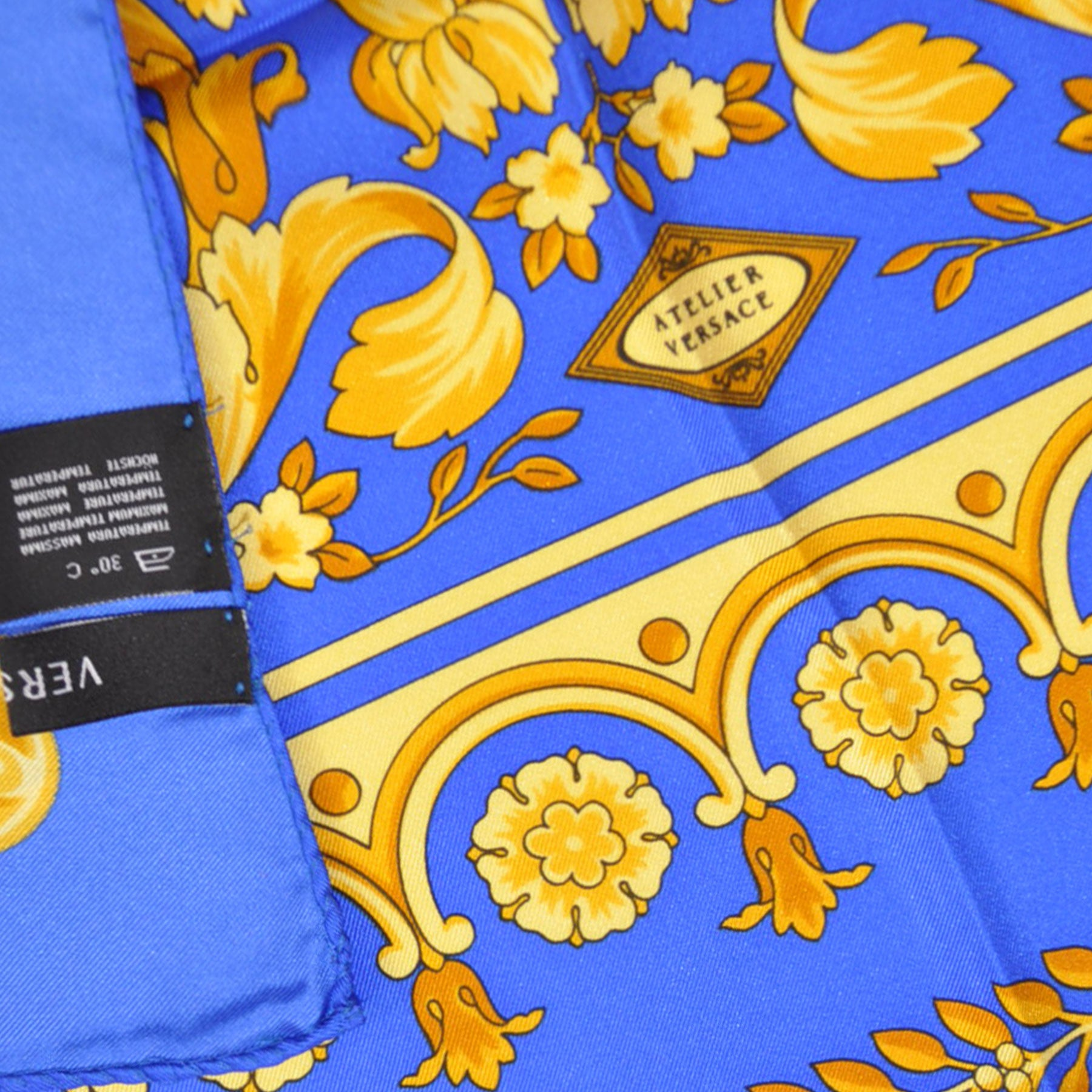 6d67a6ed Versace Scarf Royal Blue Gold Baroque Floral - Large Twill Silk Square  Scarf SALE