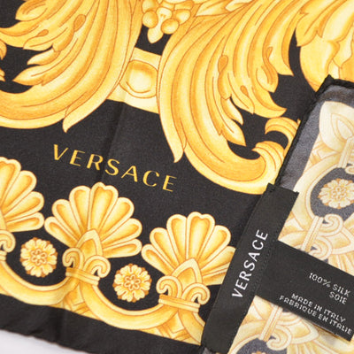 Versace Scarf Black Gold Ornamental - Large Twill Silk Square Scarf