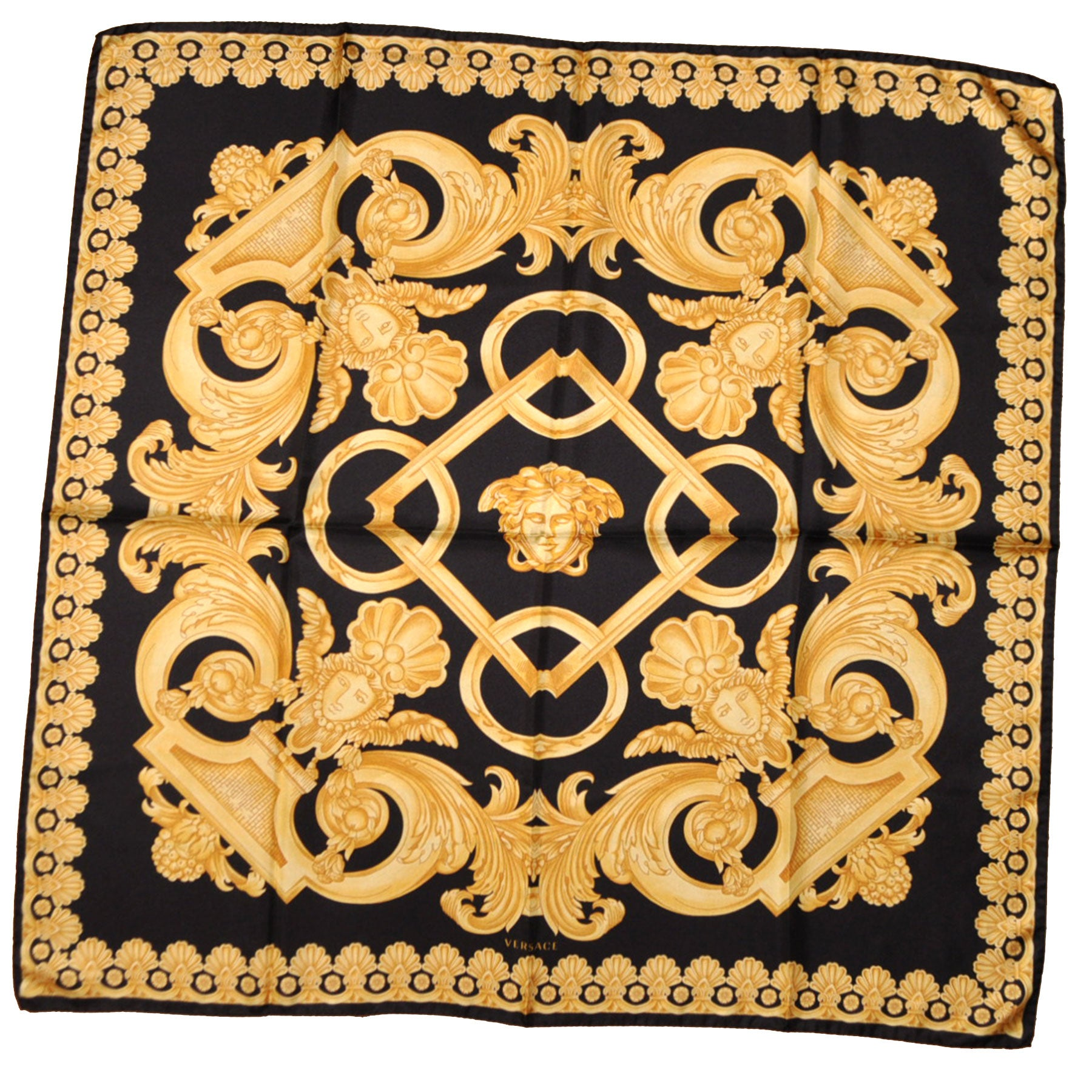 Versace Scarf Black Gold Baroque Ornamental Medusa Design - Twill ...