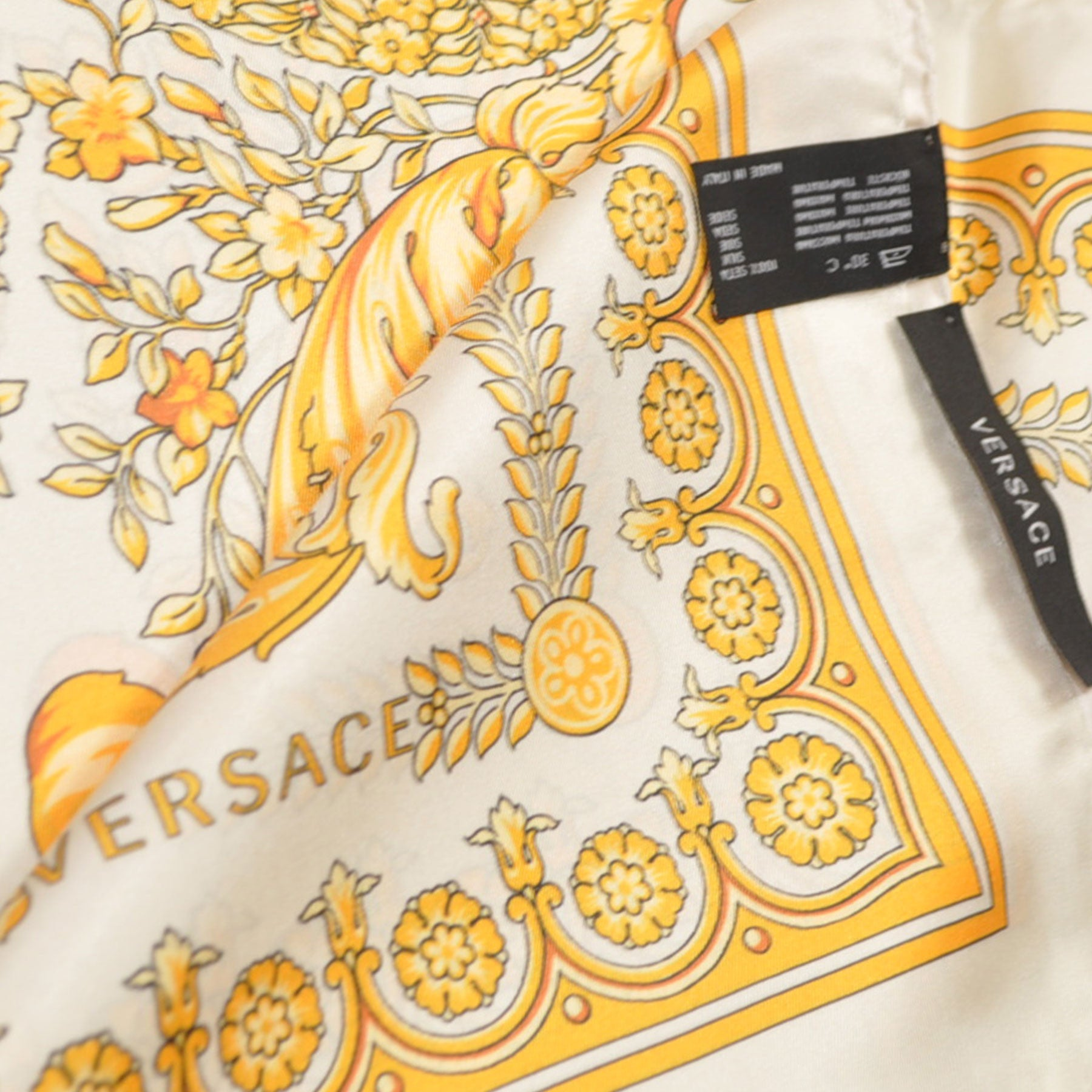 Versace Scarf White Gold Baroque Twill Silk Square Scarf