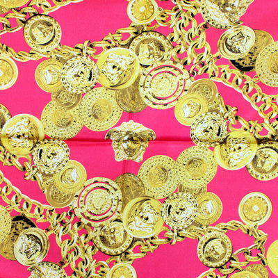 Versace Scarf Red Gold Chain Baroque - Large Twill Silk Square Scarf