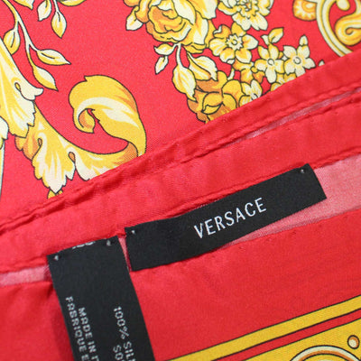Versace Scarf Red Gold Baroque & Skull - Large Twill Silk Square Scarf