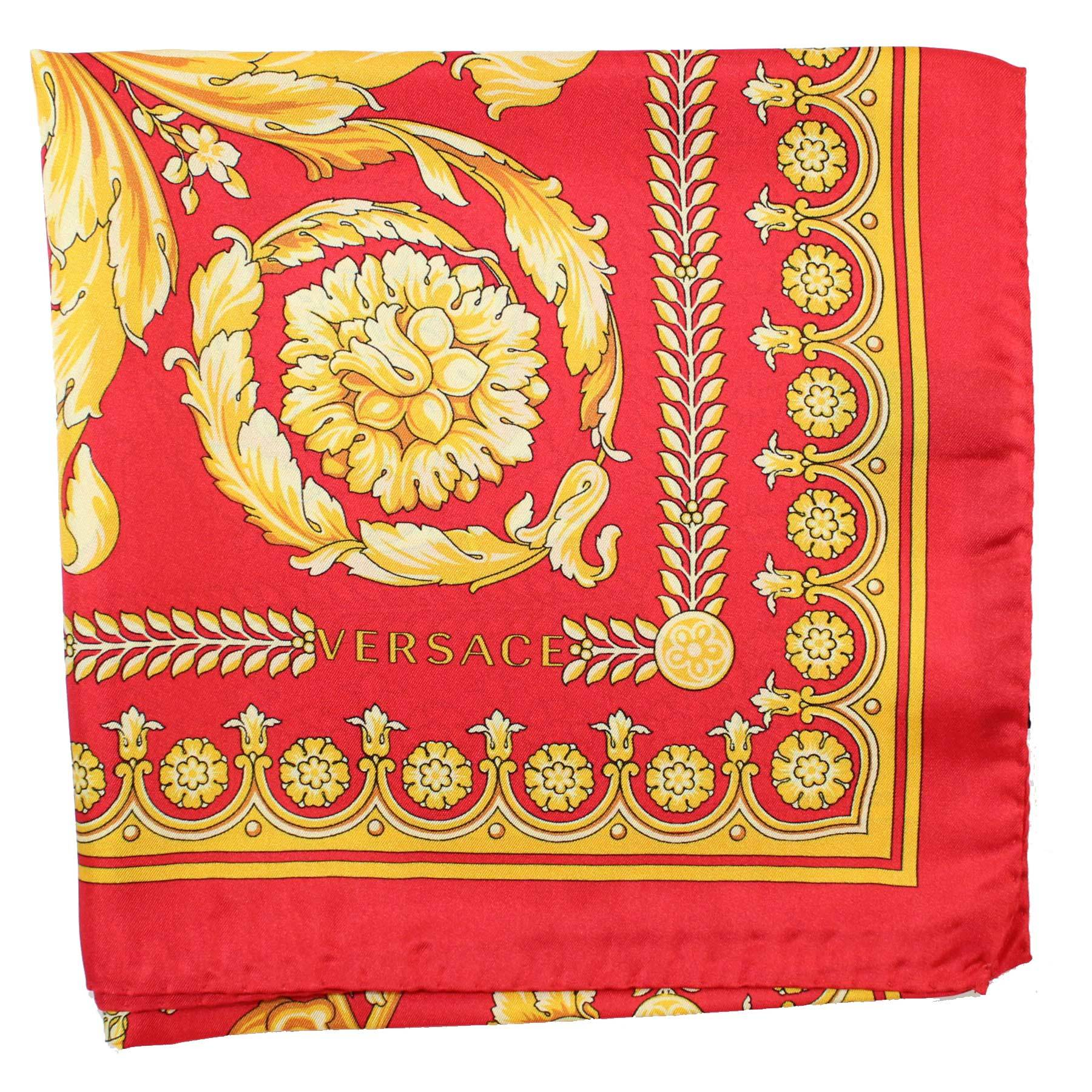 Versace Scarf Red Gold Baroque Silk Square Scarf