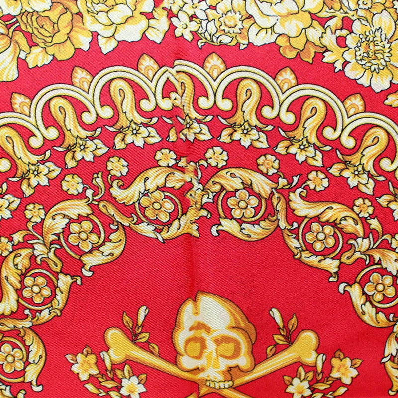 Versace Scarf Royal Gold Baroque Floral Skull