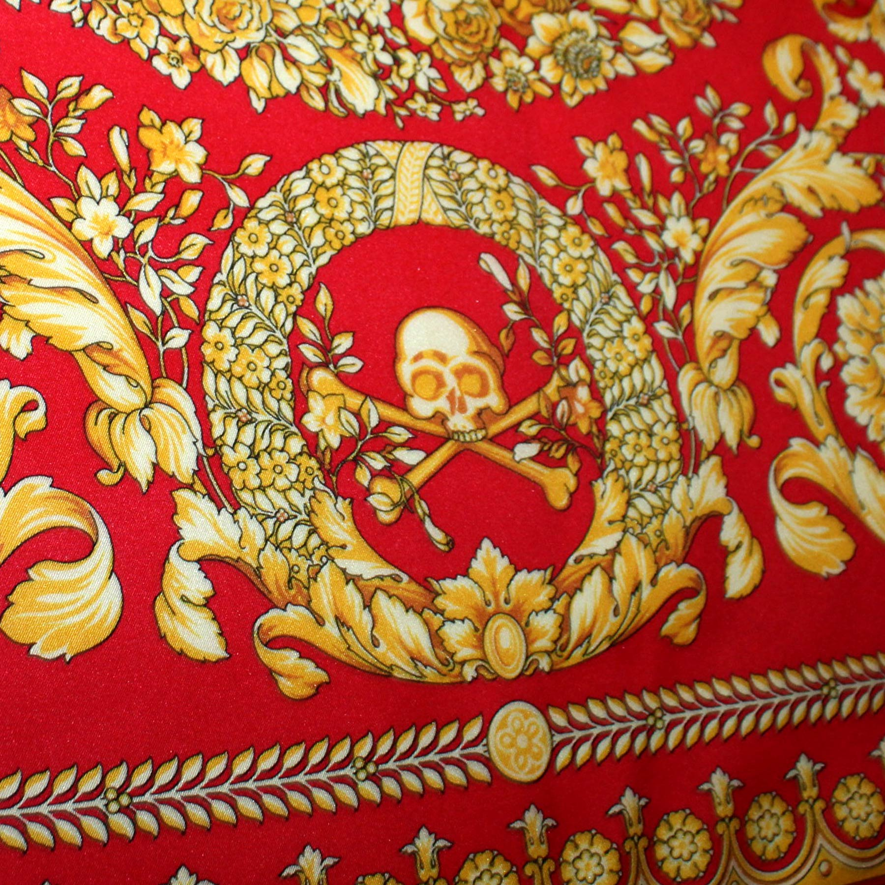 Versace Scarf Red Gold Baroque Skull