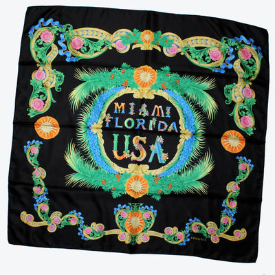 Versace Scarf Black Miami Florida USA Design - Large Twill Silk Square Scarf