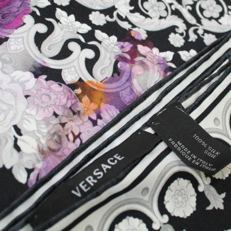 Versace Scarf Black Purple Orange Baroque Design - Large Twill Silk Square Scarf