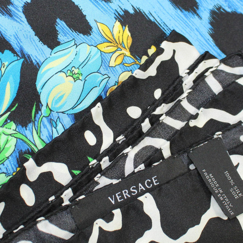 Versace Scarf Black White Aqua Flowers - Large Twill Silk Square Scarf