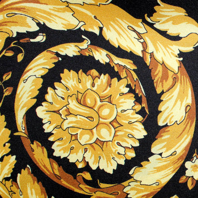 Versace Scarf Black Gold Baroque - Large Twill Silk Square Scarf