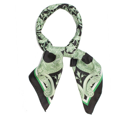 Versace Scarf Green Black - Large Twill Silk Square Scarf