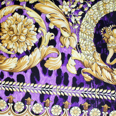Versace Scarf Purple Gold Baroque & Panther - Large Twill Silk Square Scarf