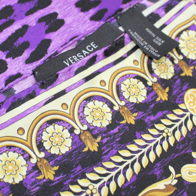 Versace Scarf Purple Gold Baroque & Panther Print - Large Twill Silk Square Scarf