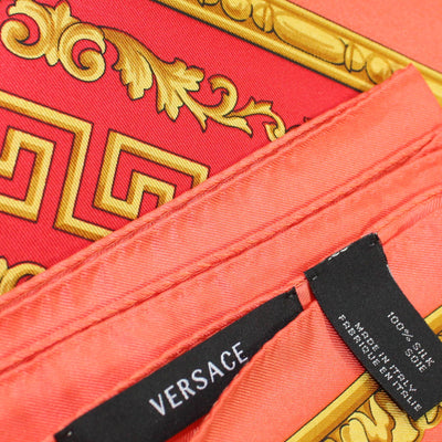 Versace Scarf Red Pink Gold Baroque - Large Twill Silk Square Scarf