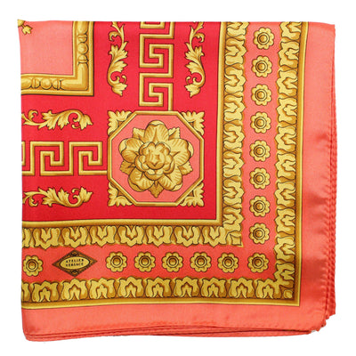 Versace Scarf Red Pink Gold Baroque  Silk Square Scarf