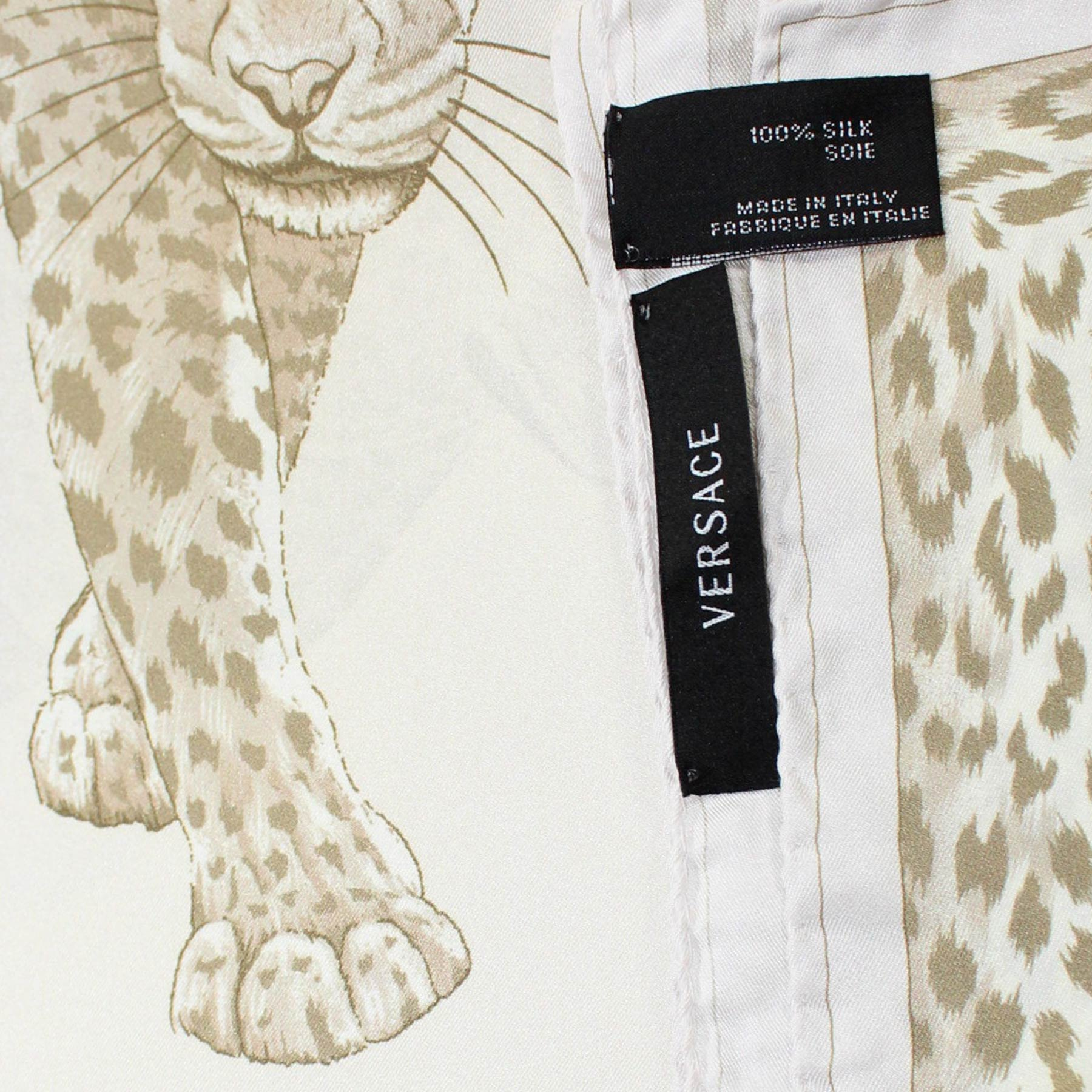 Versace Scarf White Taupe Panther Print - Large Silk Square Scarf