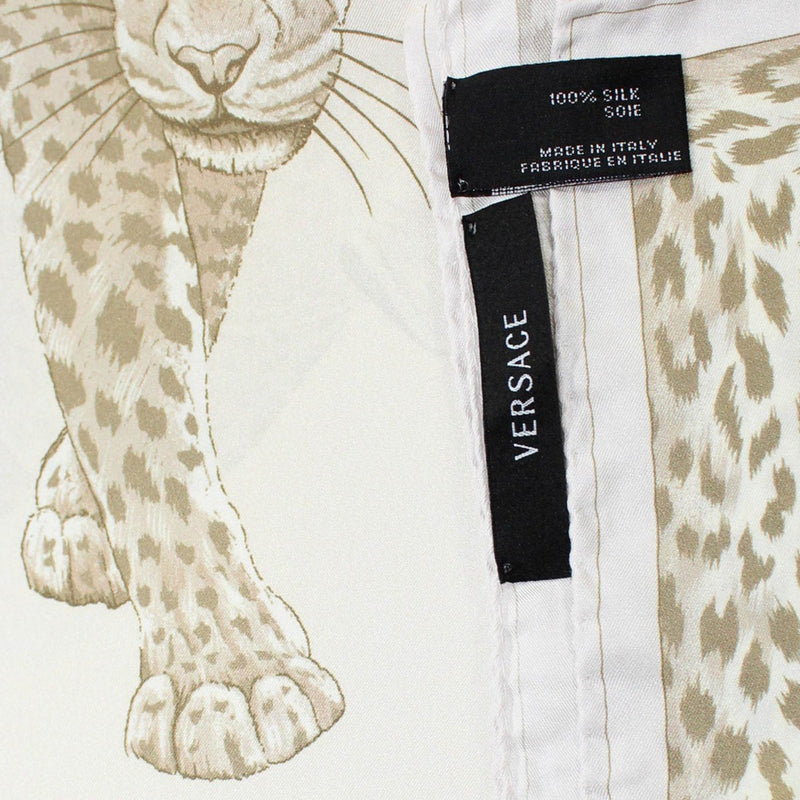 Versace Scarf White Taupe Panther Print - Large Twill Silk Square Scarf